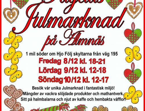 Traditionsenlig Julmarknad på Almnäs. Välkomna!